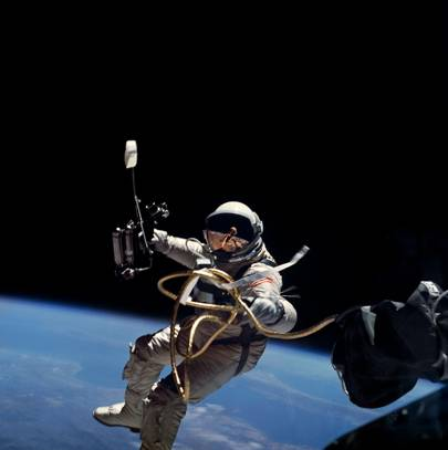 Astronaut Edward White during first EVA performed during Gemini 4 flight Download