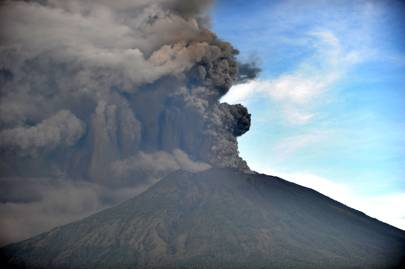 Bali's Mount Agung seen belching smoke during a minor eruption on November 26, 2017