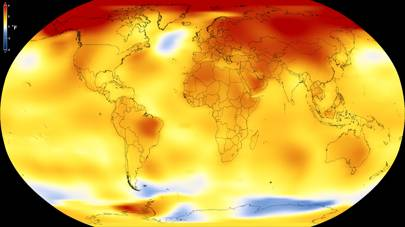 Average global temperature increase map 2013 - 2017