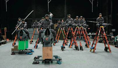Serkis leads an interior motion-capture shoot. The apes and horses will be completed in CG