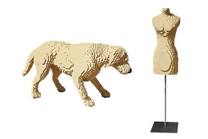 The lego dog took a week to build and is based on a pet belonging to Sawaya's girlfriend. Sawaya buys lego in bulk to get enough bricks of one colour for pieces such as this shop mannequin