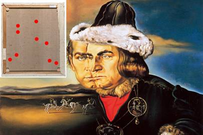 The canvas reverse of Portrait of Laurence Olivier in the Role of Richard III. The red dots point out possible weakness, indicated by near-infrared light