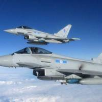 Two Royal Air Force Typhoon jets