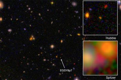 Galaxy EGS8p7, as seen from the Hubble Space Telescope (wide and top right) and Spitzer Space Telescope (inset, bottom right), taken in infrared