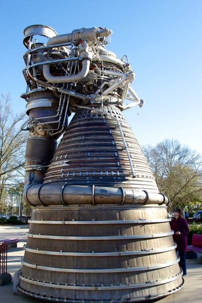 An F-1 engine on display at NASA's Marshall Space Flight Centre