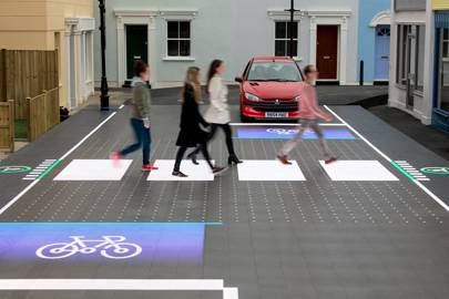 Interactive road crossing uses LEDs to alert road users