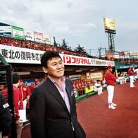 Mikitani at the Miyagi Baseball Stadium, which Rakuten bought in 2004
