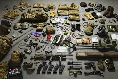 Today's kits - such as this of a sapper stationed in Helmand province - include everything from a basic sewing kit to a mine extraction kit