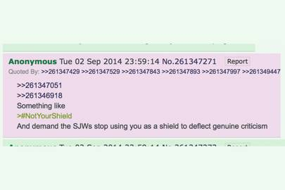 The anonymous posting on 4chan that allegedly invents the #notyourshield hashtag