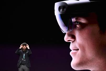 Microsoft's technical fellow Alex Kipman reveals 'HoloLens 2' during a presentation at the Mobile World Congress (MWC)