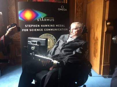 Professor Stephen Hawking speaking ahead of the Starmus IV Festival 2017