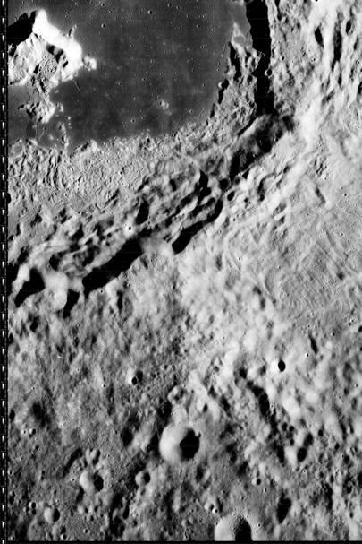 A closeup of Tsiolkovskiy impact crater