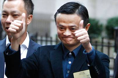 Alibaba CEO Jack Ma outside the New York Stock Exchange prior to his company's initial public offering Friday