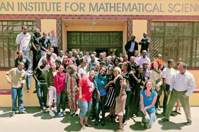 Students pose after a farewell party at the institute in South Africa