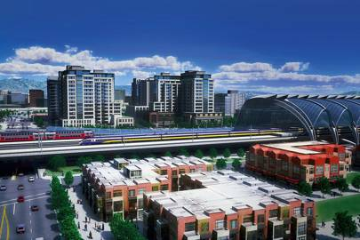 A rendering of San Jose terminus on a proposed high-speed rail line in California