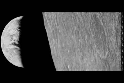 Earthrise over the Moon as seen by Lunar Orbiter 1 on August 24, 1966