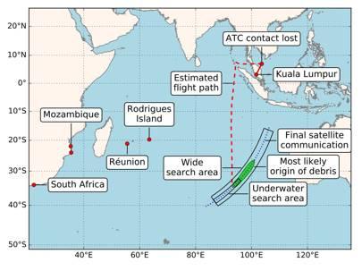 MH370 debris scanning location