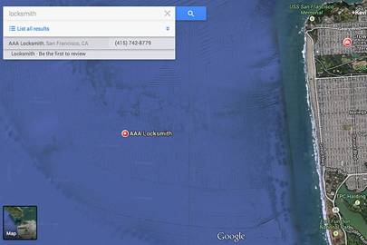 A screenshot of a spam locksmith positioned in the ocean three miles off the San Francisco coast