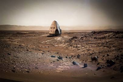 An artist's impression of a SpaceX craft on Mars