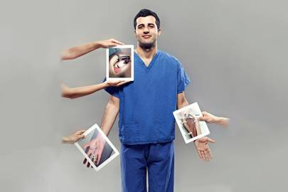 The right tablet is demonstrating an anterior approach to the forearm, exposing the brachioradialis muscles