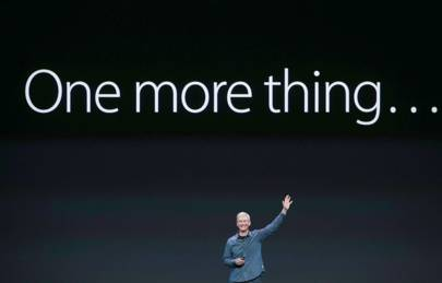 Apple CEO Tim Cook announces the Apple Watch at an event in September 2014, the company's first entry into the potentially lucrative wearables market