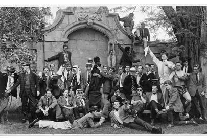 Hawking and the other members of University College Boat Club, for whom he coxed.