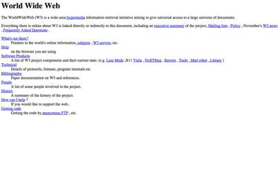The first webpage, 1992