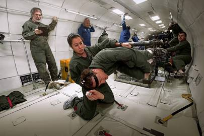 """Scientists on Zero Gravity's """"vomit comet"""" conduct tests in microgravity such as vestibulo-ocular examinations"""