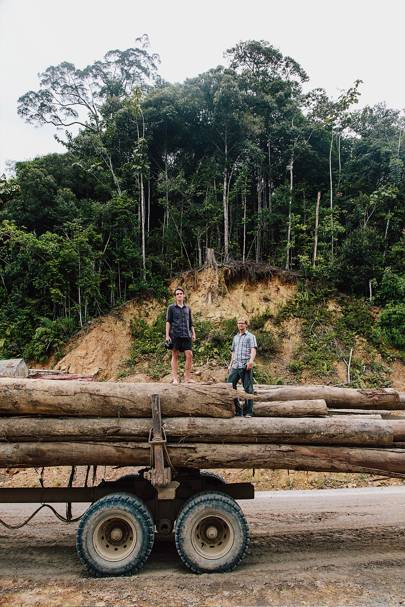 Alex Helan and Rick Jacobsen find a broken-down Samling truck which has been accused of illegal logging