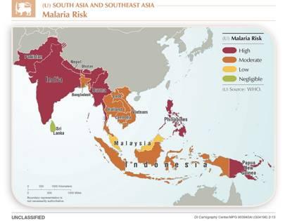 2013 South Asia malaria map