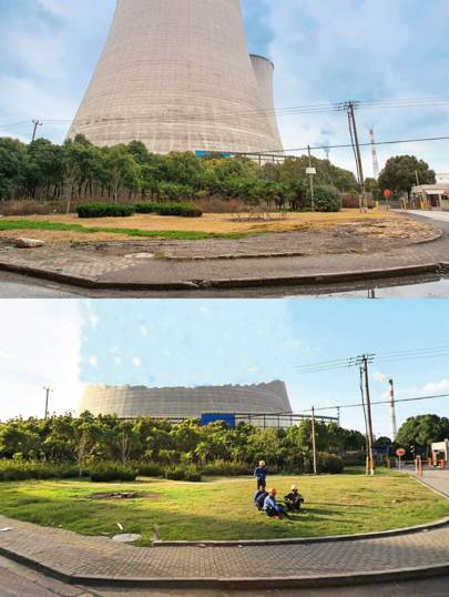"""Above:  a cooling tower east of Shanghai. Below: the same cooling tower in Baidu Total View. This cooling tower, with workers relaxing in the foreground, was the first censored image Browning uncovered. """"Even 500 to 1,000 metres away on Total View, some parts of it are cloned out. But then if you turn the corner, it's in full view."""" On the day he took his photographs, this was his penultimate stop. """"It's in kind of a no-man's land, so there's not really much going on in that area"""""""
