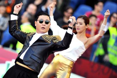 Psy performs 'Gangnam Style' before a football match at Rome's Olympic Stadium in May 2013