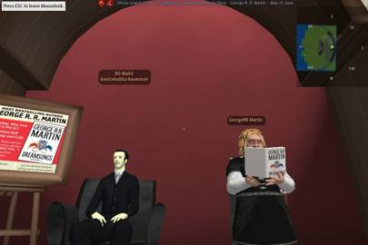 George RR Martin (as Tyrion Lannister) performing a book reading in the online world Second Life