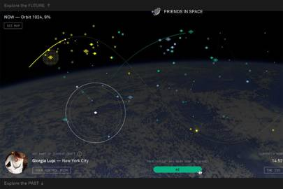 """Friends In Space allows you to say hello to astronaut Samantha Cristoforetti while she's in space. When her orbit aligns with your location on earth you can click """"hello"""""""