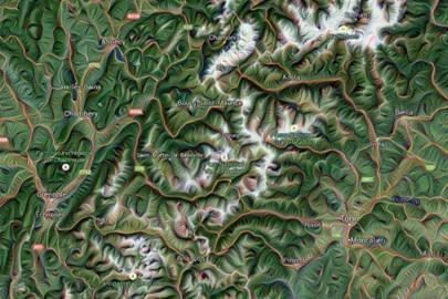 The Alps in Google Maps rendered by Dreamscope