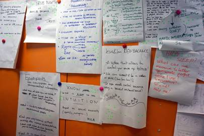 Ideas for the hackathon were pitched by participants, with everyone voting on their favourites
