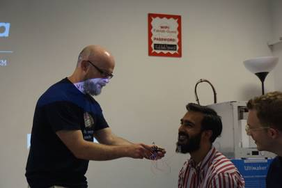 Hair Wear vibrates a judge's beard – it must have felt good, as the team picked up one of three prizes