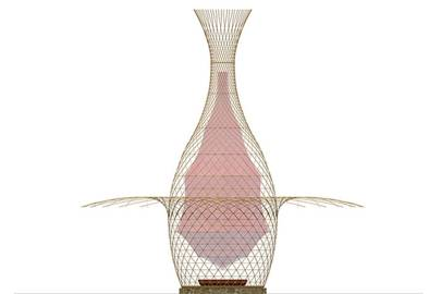 Though the structure is made from organic material, Vittori designed it using traditional CAD tools