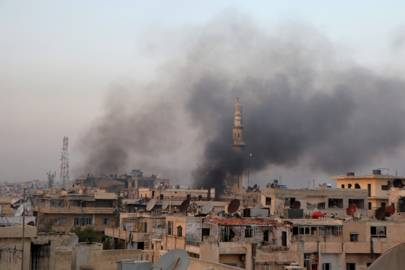 Smoke rises from the centre of Aleppo, Syria on October 29, 2016. Around 70 citizen journalists have been killed in the conflict to date