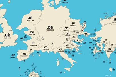 High internet adoption rates in Europe give it a much larger presence on the map of top-level domains