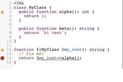 A snippet of Hack in a code editor. Looks simple enough.