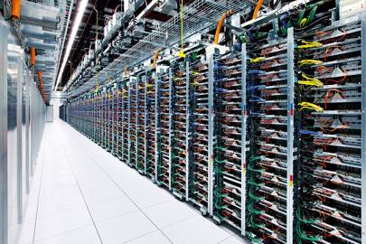 A row of servers in Google's data centre in Mayes County, Oklahoma