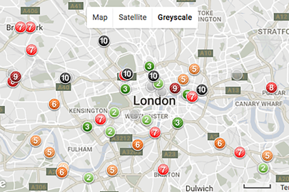 """KCL demonstrates the """"black spots"""" of London's streets where pollution is dangerously high"""