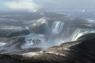 Artist's illustration of what the waterfalls cascading over the Dover-Calais land bridge may have looked like