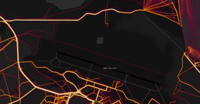 Strava routes are visible going through and around the UK's restricted RAF Akrotiri station in Cyprus