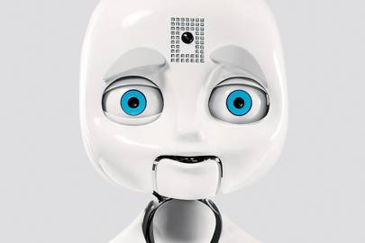 MIT's experimental robot, Nexi, which can communicate emotion using facial expressions