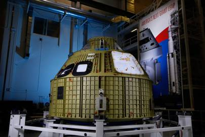 The Orion crew module for Exploration Mission-1 in 2018 arrived to Kennedy Space Center in February of 2016