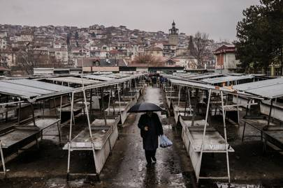 The Central Market in Veles. The town's economy declined throughout the 90s after Macedonia gained its independence