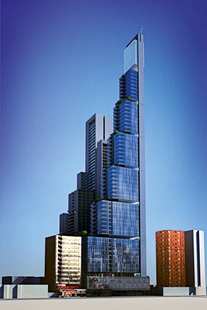 An artist's rendering of the 66-storey skyscraper in Bogota, which was crowdfunded from the capital's citizens and its authorities