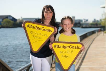 Olympic gymnast Beth Tweddle, who is supporting the badge overhaul, along with GirlGuiding member Cece